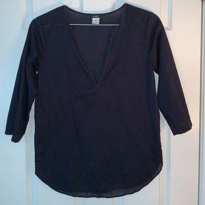J.CREW women's navy beaded beach tunic